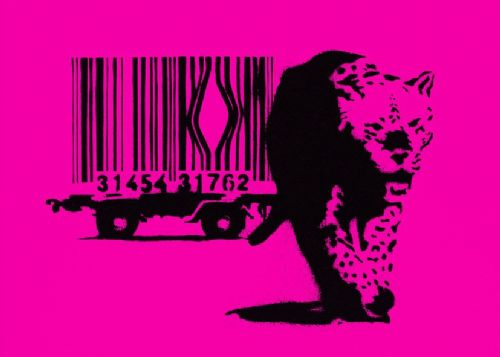 BANKSY - ESCAPE THE BAR CODE - Pink canvas print - self adhesive poster - photo print